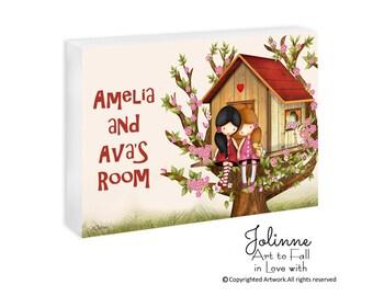 Sisters room door sign, personalized kids door sign, children's art, twin sisters plaque, baby name plates, kids door signs, girl room signs