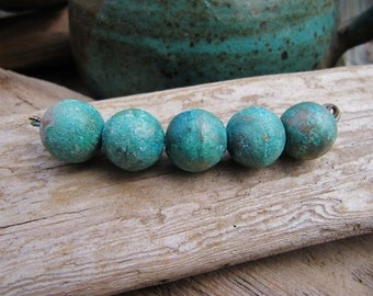 Blue Patina Brass Metal Beads 14mm