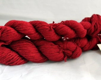 30% off STORE CLOSING SALE Upcycled Cherry Red Cotton Yarn, Worsted Weight Yarn - 166 Yards
