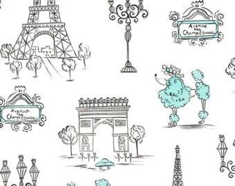 C'est La Vie by Ink and Arrow Fabric Paris Eiffel Tower Metro Monuments French Poodle Aqua Blue and White