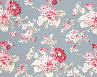 Winter Garden Christmas Holiday Tanya Whelan Designer Fabric Floral Bouquet Flowers on Silver Gray Blue