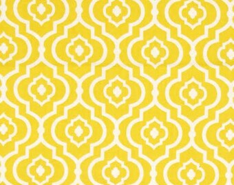 Sundara Oasis Fabric by Dena Designs for Free Spirit/Westminster Meena Tiled Geometric Flowers in Yellow and White