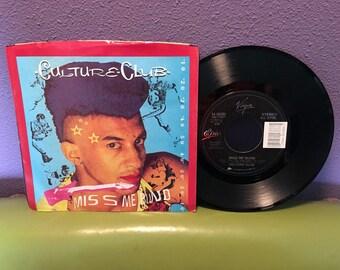 """SHOP CLOSING SALE Vinyl Record Culture Club - Miss Me Blind 7"""" 45 Rpm 1984 Pop Hit Single"""