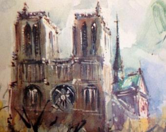 Fine Art French Lithograph Marius Girard Paris Notre Dame et La Seine Lithograph