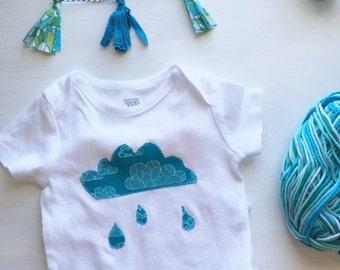 Cloud & Raindrop One-Piece Bodysuit, Cloud Baby Outfit