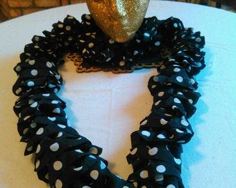 Black Polka Dot Ruffle Scarf
