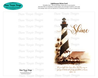 Digital Download Lighthouse / Shine Card - Print your own Greeting Card