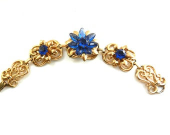 Enchanting rare bracelet 1950s CORO signed -  blue floral and gold scroll bracelet - large layered flowers and blue stones-art.52/4-