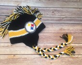 Mohawk football hat - Pittsburgh Steelers Earflap Hat - Steelers hat - black and yellow hat - Steelers - NFL All sizes from Newborn to Adult