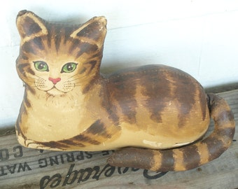SHIPPING INCLUDED - Stuffed, Vintage, Cat, Tabby, Fun Item to Place on Book of Shelves, Child Room Decor, Photo Prop