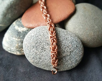 Copper Byzantine Chainmaille Bracelet 8in