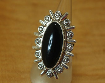 Silver Mexican Ring Onyx