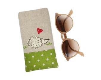 Hedgehog Glasses Case, Mothers Day Gift, Sunglasses Pouch, Reading Glasses Holder