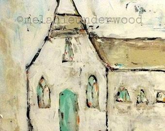 church painting/original painting/abstract church art/church/acrylic painting