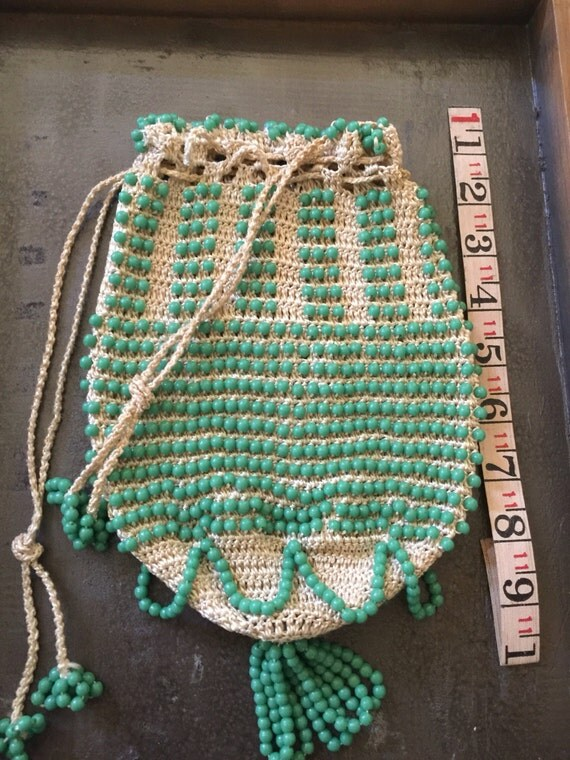 Antique beaded bag purse pouch Reticule Green round  glass beads Crochet