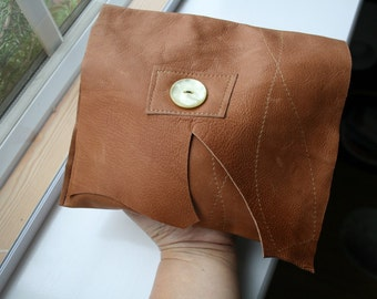 Small leather pouch, handmade leather pouch, make up bag, clutch bag READY TO SHIP