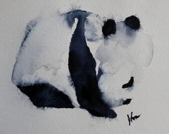 ORIGINAL Panda Bear watercolor painting original WATERCOLOR Panda Bear Painting