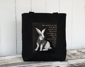 Steampunked White Rabbit - Carryall Tote - School Bag - Canvas Bag - Black or Natural