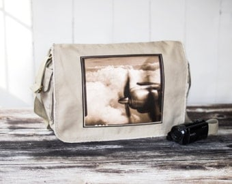 Come Fly With Me - Messenger Bag - School Bag - Natural Stone - Canvas Bag