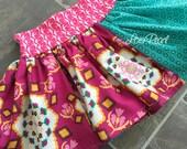 Girls Skirt Plum & Teal