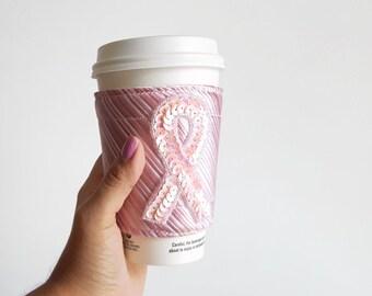 Pink Ribbon Coffee Cozy Pink Coffee Cozy Necktie Cozy Pink Coffee Sleeve Breast Cancer Coffee Cozy To Go Cup Cozy Tea Cozy Beverage Holder