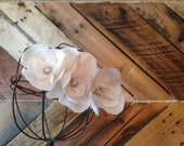 Bridal halo special occasion bride bridesmads floral wreath crown white silk bark wire rustic nature natural
