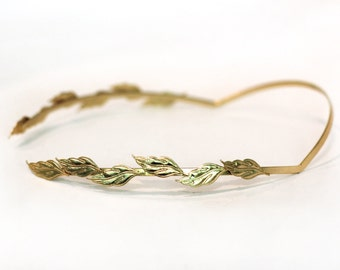 Field Of Leaves Greek Goddess Headband, Roman Crown, Grecian Gold Leaf Wreath, Bridal Hair Accessories, Rear Headband, Hand Made Gold Plated