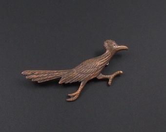 Copper Roadrunner Brooch, Bird Brooch, Bird Pin, Roadrunner Pin, Southwest Brooch, Southwestern Pin, Animal Brooch