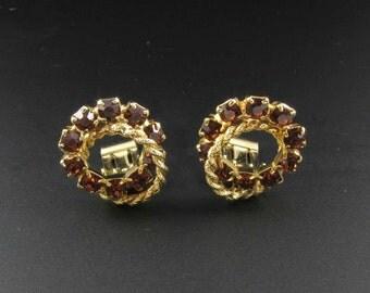 Amber Rhinestone Earrings, Gold Earrings, Circle Earrings, Brown Earrings