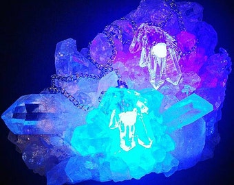 Crystal Cluster EDM Rave Ready LED Necklace Angel Aura Collection
