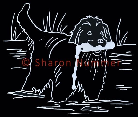 Original Newfoundland Dog Vinyl Decal Hanna's Bumper by Sharon  Nummer