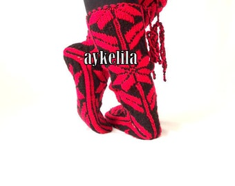 Snow Pattern, Comfy, Red Slippers, Warm Slippers, Christmas Gift, Womens Slippers, Mukluk