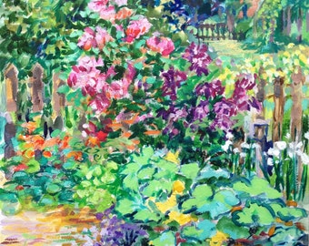 Late Summer Garden Painting 8x10