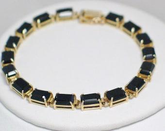 somewhat dainty jet black onyx gemstone emerald cut 10k gold tennis line link chain bracelet