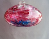 Hand Blown Art Glass Witch Ball/Ornament/Suncatcher - Orb, Ruby Red and Aqua Color