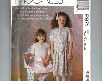 McCall's P971 - Children & Girl's Dress, Size CL (6, 7, 8)