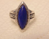 Vintage Sterling Lapis Ring Lapis Jewelry Sterling Ring Lapis Sterling Ring Womens Rings Statement Ring