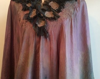 Hand dyed silk caftan with nuno felted merino wool and topstitched swirl accents