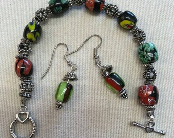 Colorful Glass Bead Bracelet and Earrings Set FREE SHIPPING