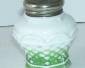 Victorian White Milk Glass Salt Shaker, Green Trim, Waffle Weave Pattern, Kitchen Shaker, Spice Shaker, Cheese Shaker, Country Kitchen