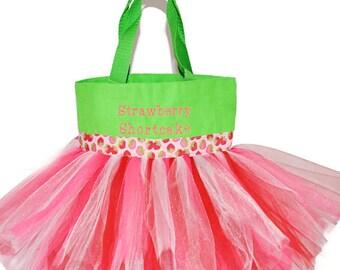 Strawberry Tote Bag, Dance Bag, Strawberry Shortcake Dessert Ribbon With FREE Monogram Name, Personalized Dance Bag, Fairy Bag, Ballet Bag