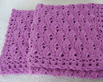 Crochet Baby Blanket, Cotton Baby Blanket, Orchid Baby Blanket, Newborn Baby Blanket, Baby Girl Gift, Cottontail Baby Blanket