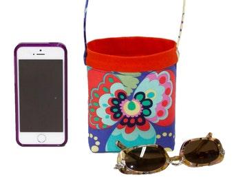 CAR CELLPHONE CADDY Amy Butler Love Paradise Garden Periwinkle, Car Phone Holder, iPhone Case, Sunglasses, Cell Phone Holder, Sunglass Case