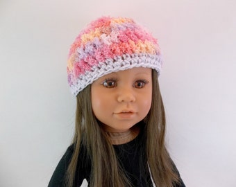 18 inch Doll  Crochet Fluffy Pink Hat  Fits American Girl doll Accessories Toys