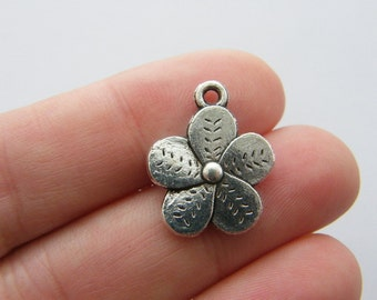 BULK 50 Flower charms antique silver tone F171