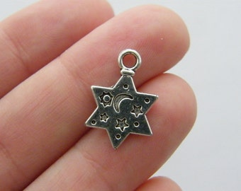 10 Star charms antique silver tone S7
