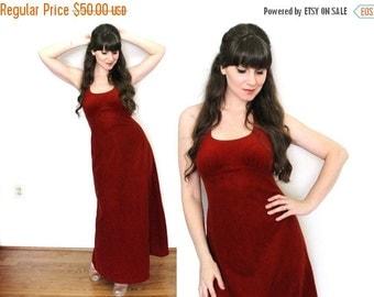 ON SALE 70s Maxi Dress / 1970s Velveteen Oxblood Red Halter Maxi Dress