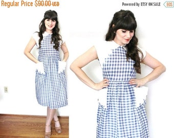 ON SALE 1940s Dress / 40s Day Dress / 1940s Blue and White Gingham Dress