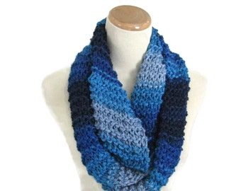 Blue Infinity Scarf, Chunky Loop Scarf, Neck Warmer, Knit Scarf, Circle Knit Scarf, Cowl Scarf, Gift For Her, Winter Accessory, Women Scarf