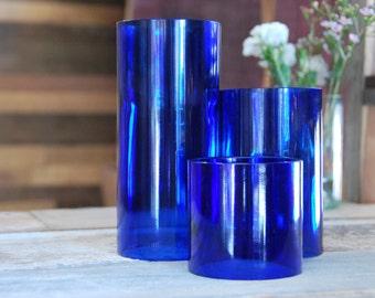 Set of 3 Upcycled Wine Bottle Candle Cover Hurricane Pillars